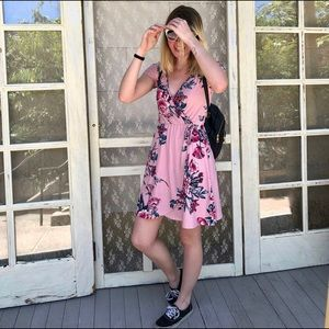 Pink floral casual wraparound dress